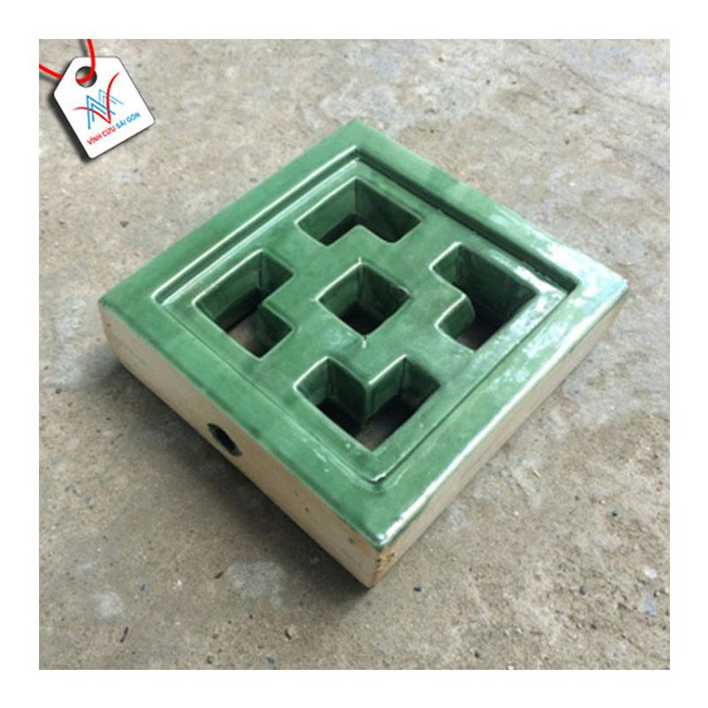 Gạch thông gió Cube men xanh đồng cổ VCSG-TGM-V20 (20x20x6 cm)
